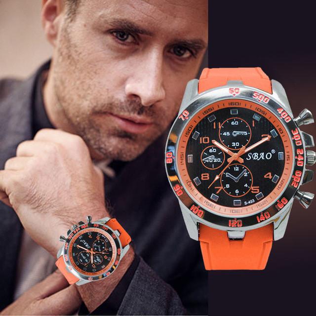 Кварцевые спортивные мужские часы с силиконовым ремешком код 476
