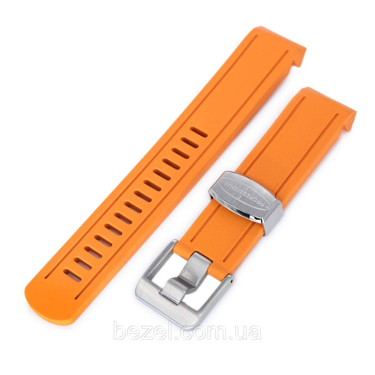 20mm Crafter Blue - Orange Rubber Curved Lug Watch Band for Seiko Sumo SBDC001