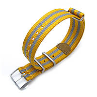 MiLTAT 20mm G10 NATO 3M Glow-in-the-Dark Watch Strap, Brushed - Mustard and Grey Stripes