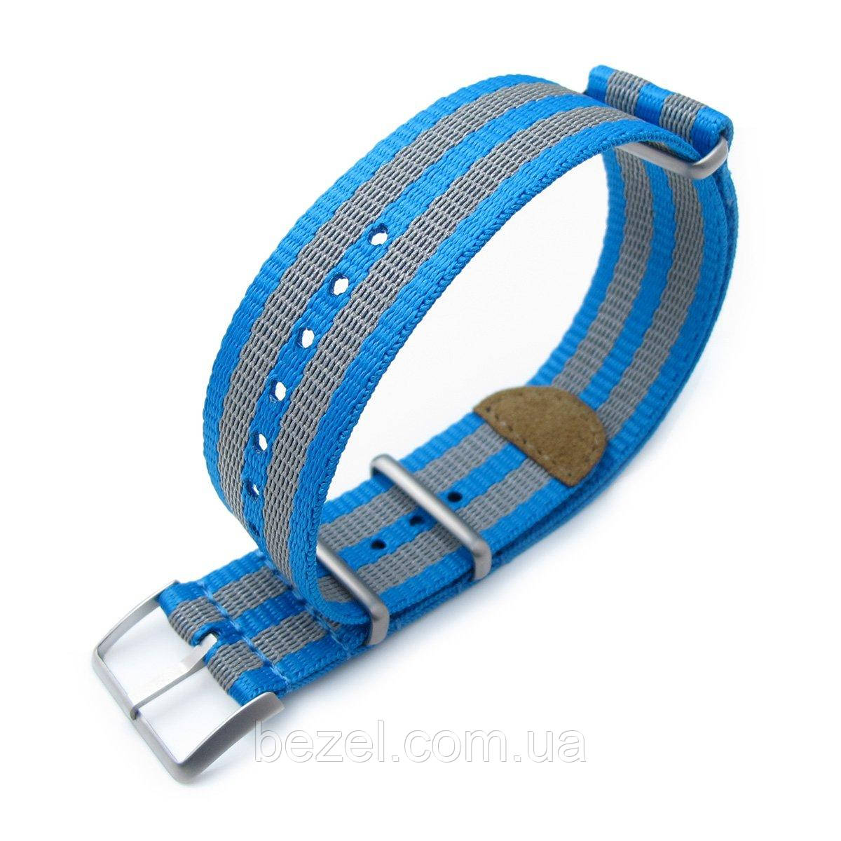 MiLTAT 22mm G10 NATO 3M Glow-in-the-Dark Watch Strap, Brushed - Blue and Grey Stripes