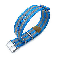 MiLTAT 22mm G10 NATO 3M Glow-in-the-Dark Watch Strap, Brushed - Blue and Grey Stripes, фото 1