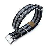 MiLTAT 20mm or 22mm G10 NATO 3M Glow-in-the-Dark Watch Strap, Brushed - Black and Grey Stripes