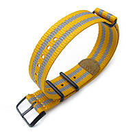 MiLTAT 20mm G10 NATO 3M Glow-in-the-Dark Watch Strap, PVD Black - Mustard and Grey Stripes, фото 1