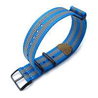 MiLTAT 22mm G10 NATO 3M Glow-in-the-Dark Watch Strap, PVD Black - Blue and Grey Stripes