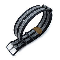 MiLTAT 20mm or 22mm G10 NATO 3M Glow-in-the-Dark Watch Strap, PVD Black - Black and Grey Stripes
