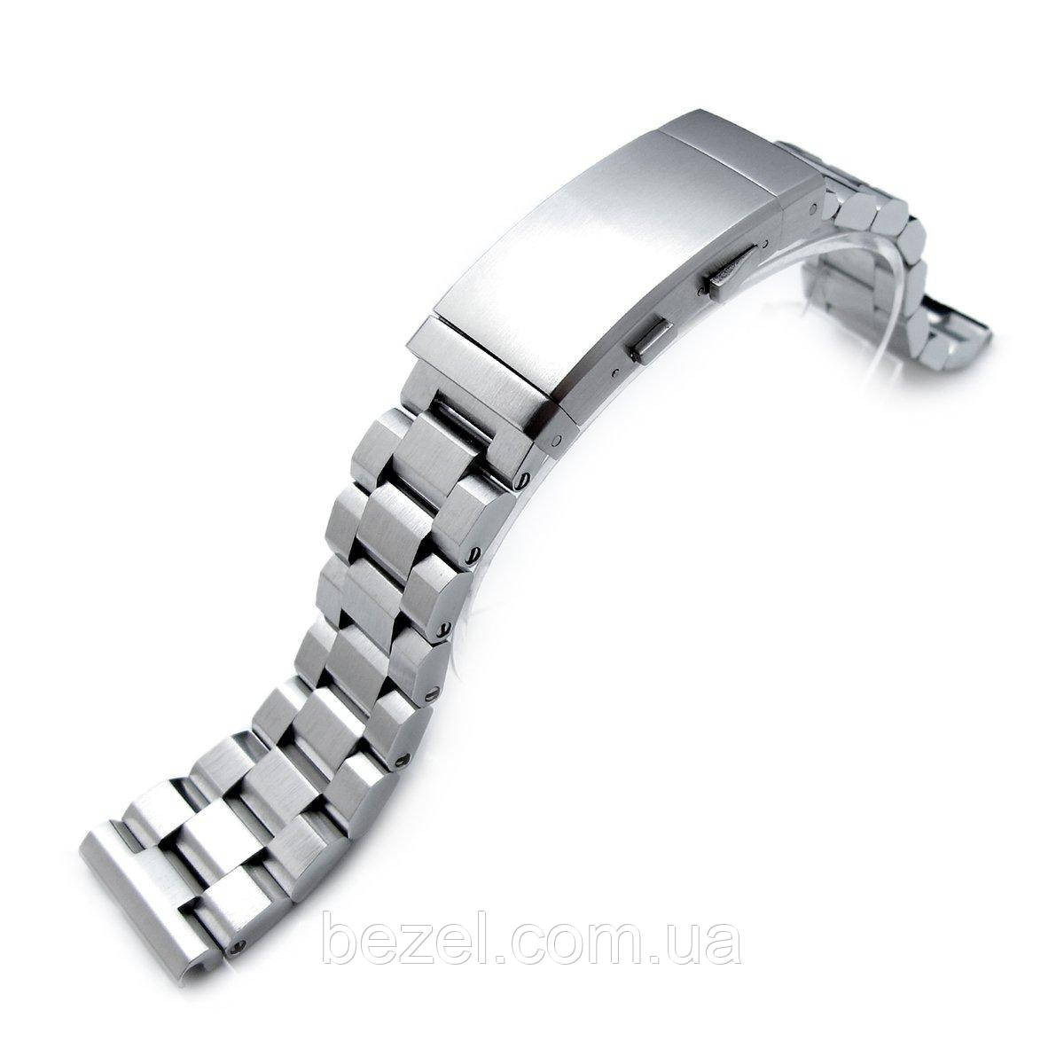 22mm Hexad Oyster 316L Stainless Steel Watch Band Straight Lug, Wetsuit Ratchet Buckle Brushed