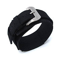 MiLTAT Double Layer Nylon 24mm Black Velcro Fastener Watch Strap for 44mm Panerai, Brushed, Pre-V Buckle, фото 1
