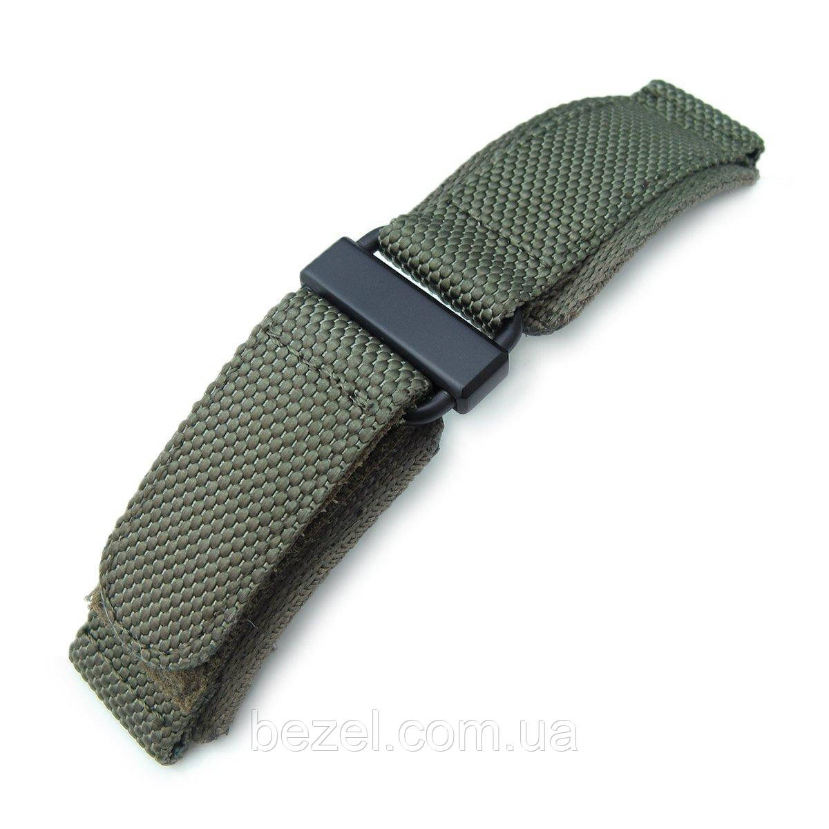 22mm MiLTAT Honeycomb Military Green Nylon Velcro Fastener Watch Strap, PVD Black Stainless Buckle