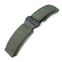 22mm MiLTAT Honeycomb Military Green Nylon Velcro Fastener Watch Strap, PVD Black Stainless Buckle, XL, фото 1