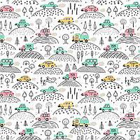 Хлопковая ткань Машины на холмиках
