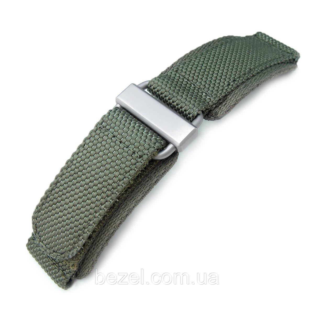 22mm MiLTAT Honeycomb Military Green Nylon Velcro Fastener Watch Strap, Brushed Stainless Buckle