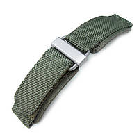22mm MiLTAT Honeycomb Military Green Nylon Velcro Fastener Watch Strap, Brushed Stainless Buckle, фото 1