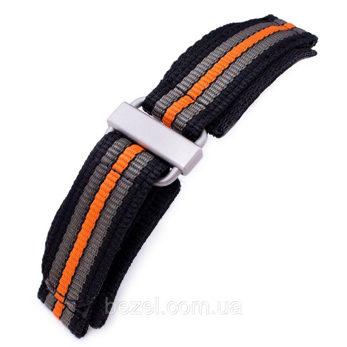 22mm MiLTAT Black, Khaki & Orange Stripes 3-D Nylon Velcro Fastener Watch Strap, Sandblasted Buckle
