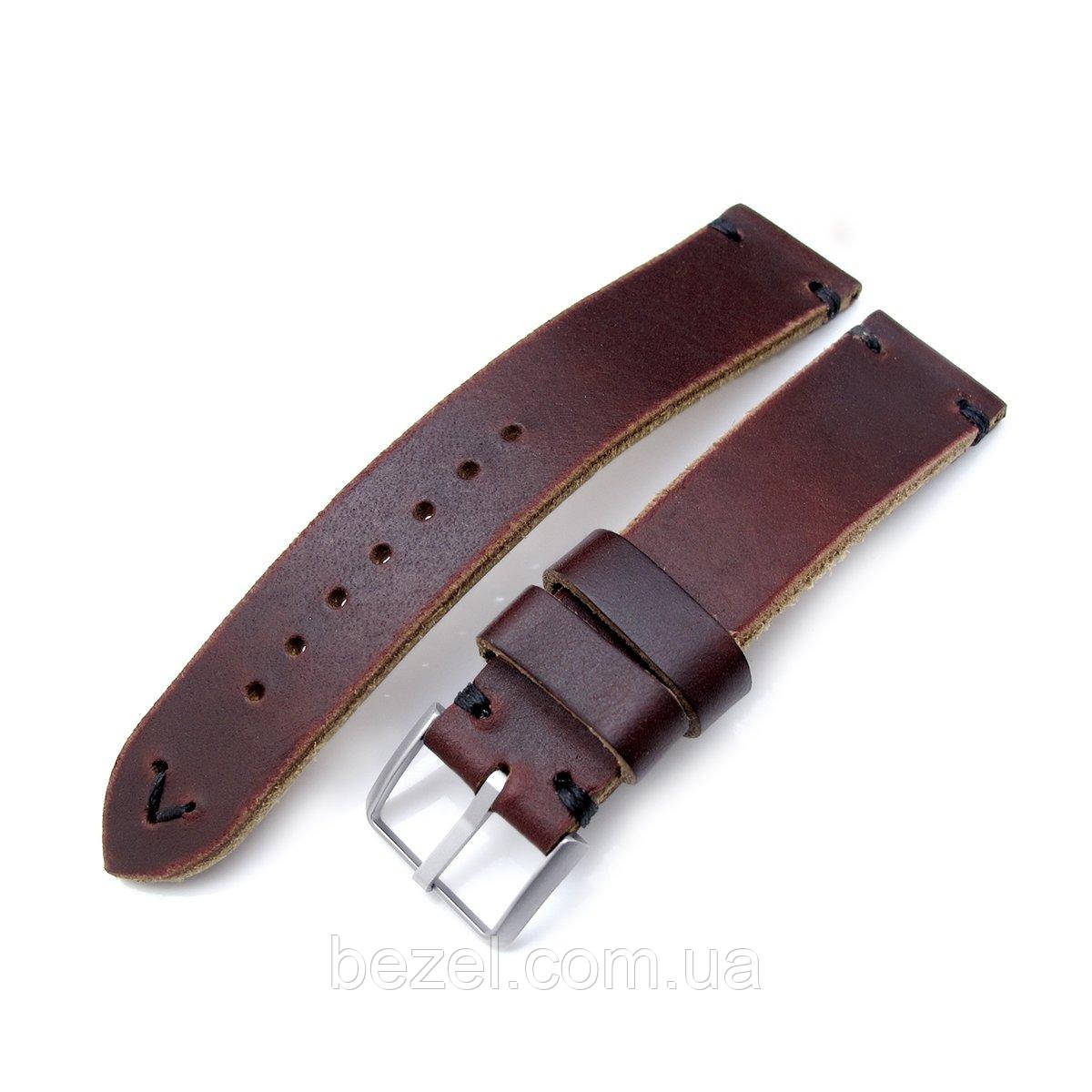 20mm, 22mm MiLTAT Horween Chromexcel Watch Strap, Burgundy Brown, Black Stitching