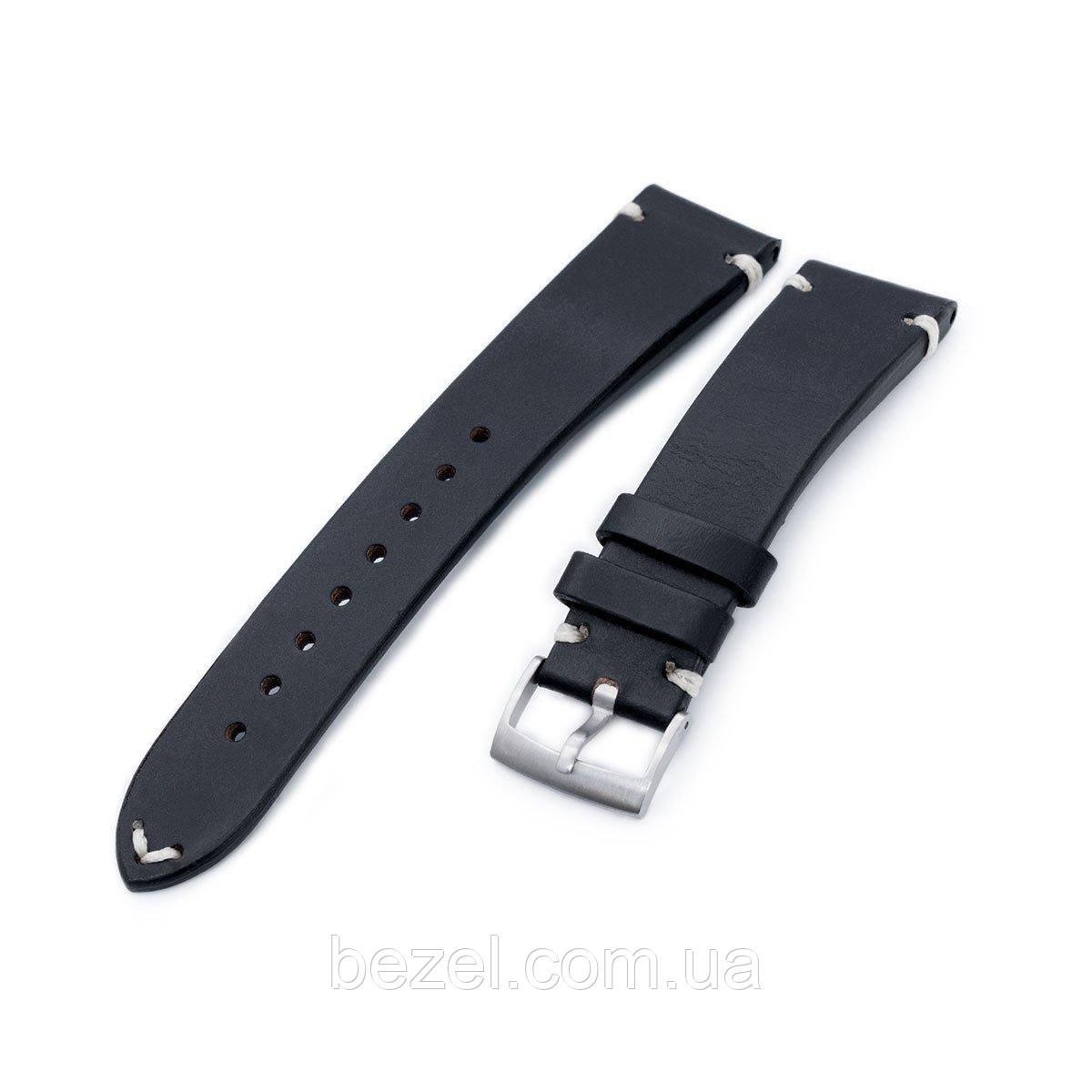 20mm, 21mm, 22mm MiLTAT Horween Chromexcel Watch Strap, Color Black, Beige Stitching