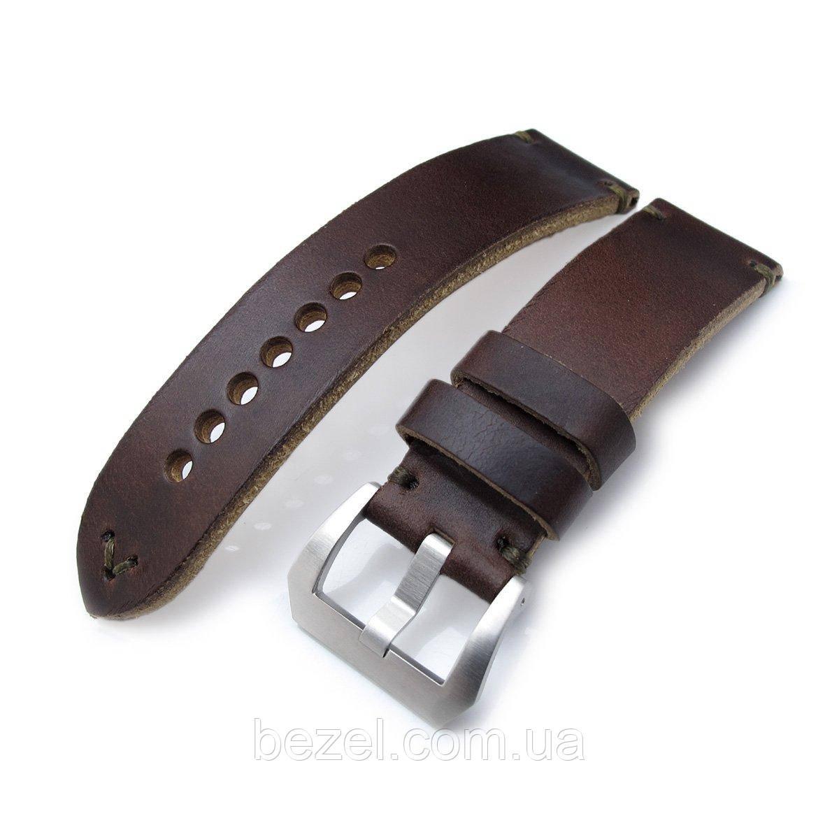 24mm MiLTAT Horween Chromexcel Watch Strap, Matte Brown, Military Green Stitching