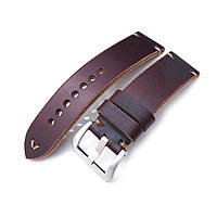 24mm MiLTAT Horween Chromexcel Watch Strap, Red Brown, Brown Stitching, фото 1