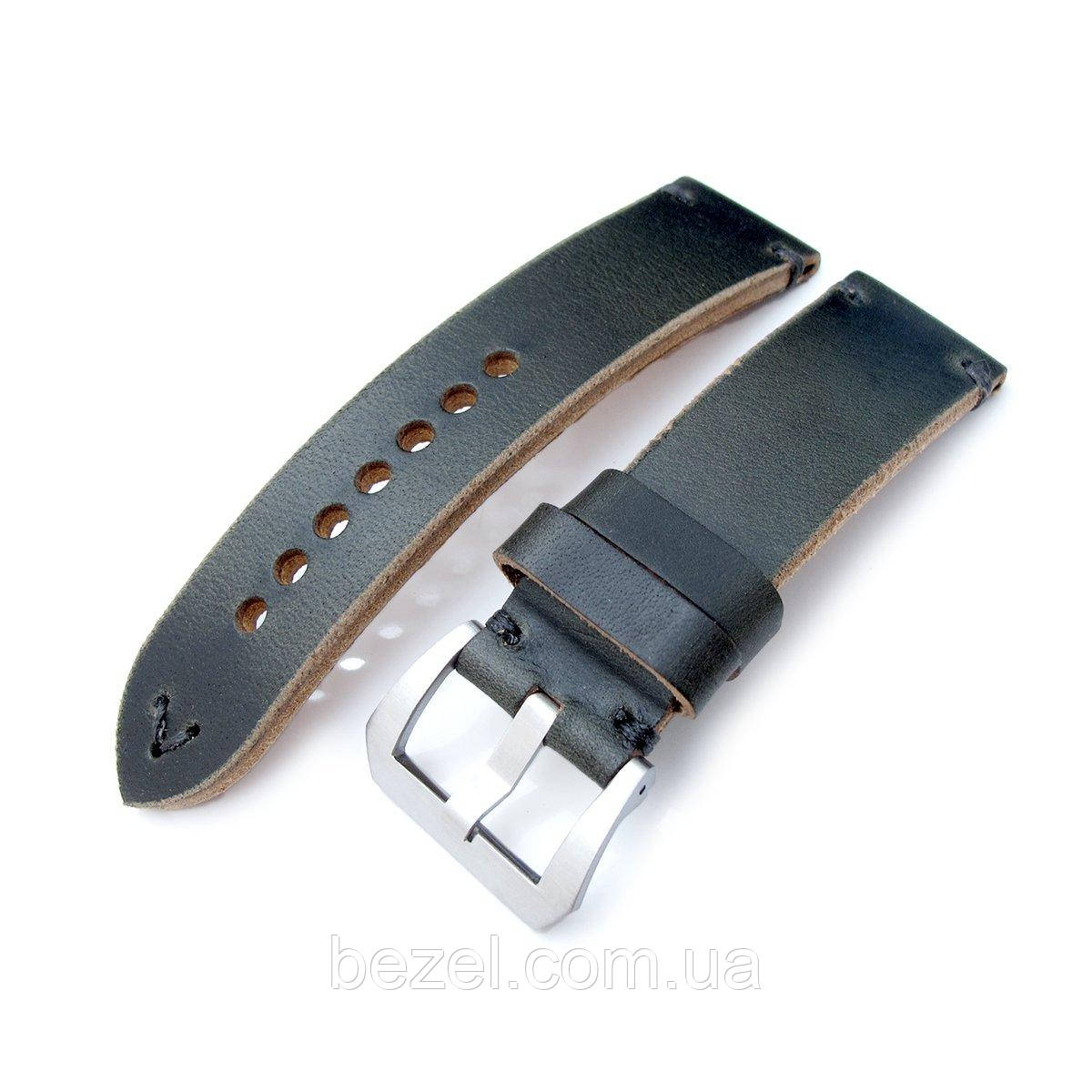 24mm MiLTAT Horween Chromexcel Watch Strap, Blackish Green, Grey Stitching