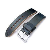 24mm MiLTAT Horween Chromexcel Watch Strap, Blackish Green, Grey Stitching, фото 1