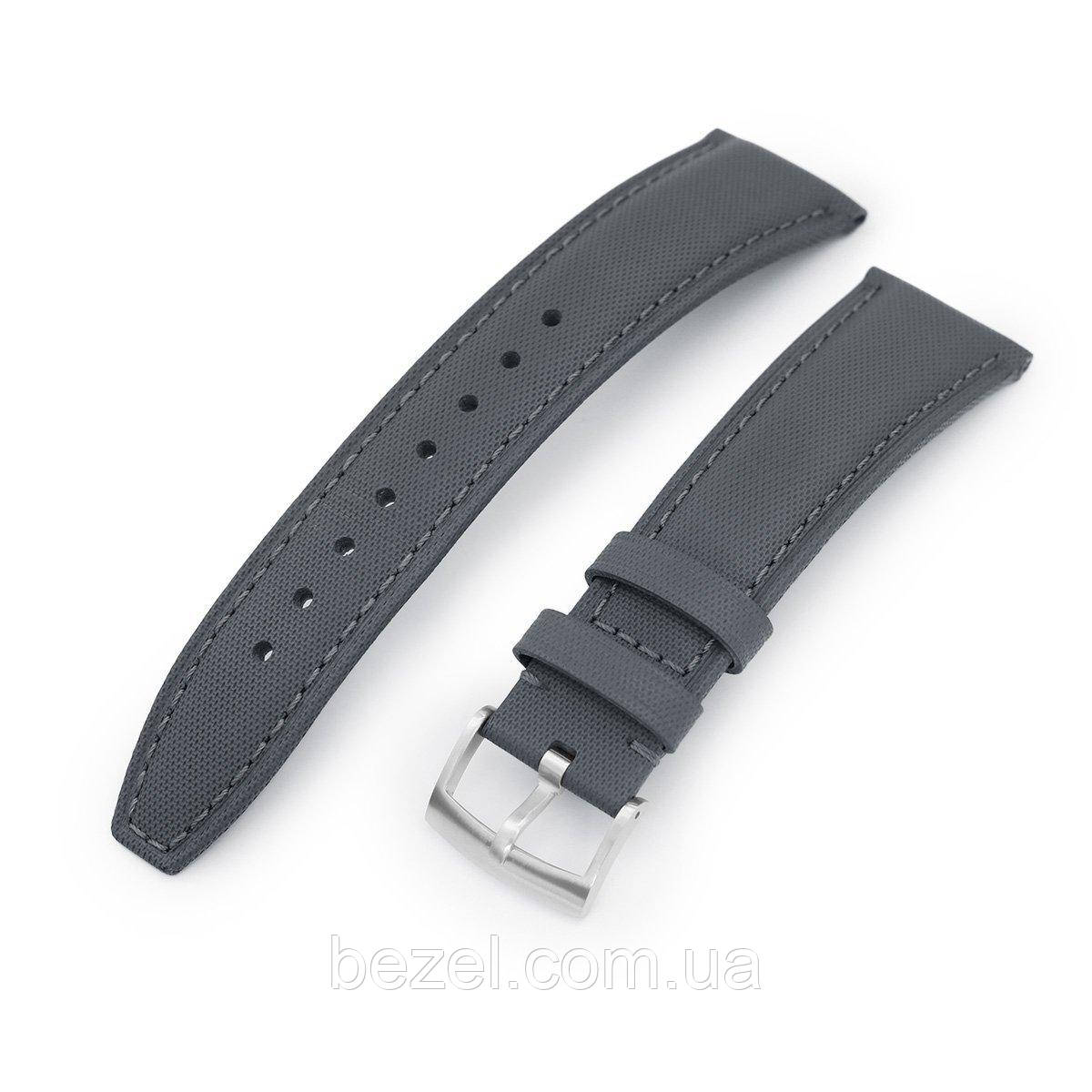 20mm or 22mm Military Grey Kevlar Finish Watch Strap, Brushed