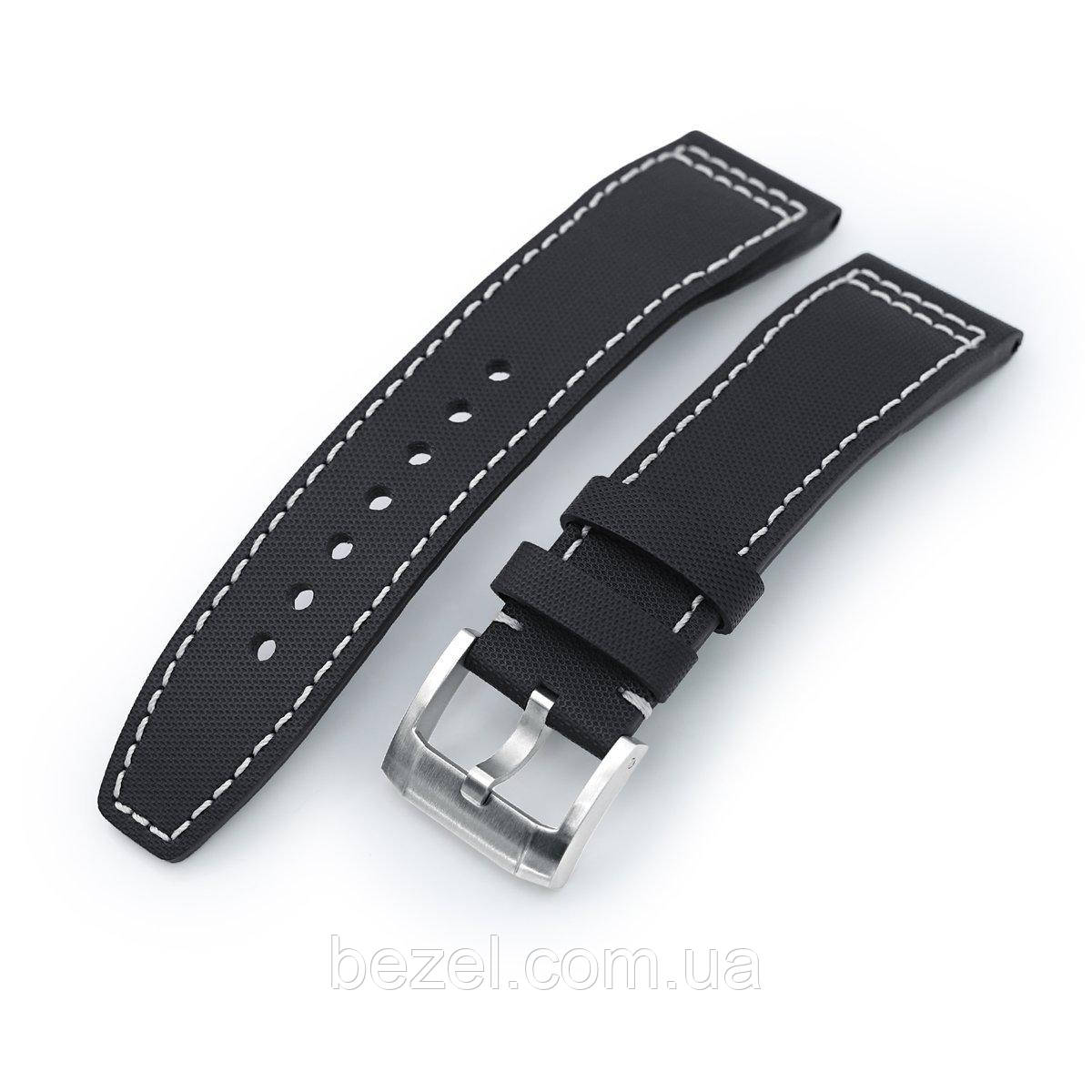 20mm to 23mm Pilot Black Kevlar Finish Watch Strap, Beige Stitching, Brushed