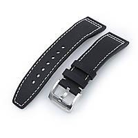 20mm to 23mm Pilot Black Kevlar Finish Watch Strap, Beige Stitching, Brushed, фото 1