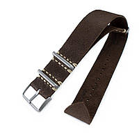 20mm or 22mm MiLTAT G10 Grezzo NATO Watch Strap, D. Brown Leather Extra Soft, Sandblasted