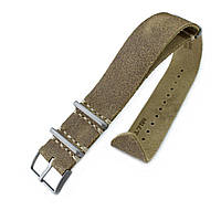 20mm or 22mm MiLTAT G10 Grezzo NATO Watch Strap, Olive Green Distressed Leather Extra Soft, Sandblasted