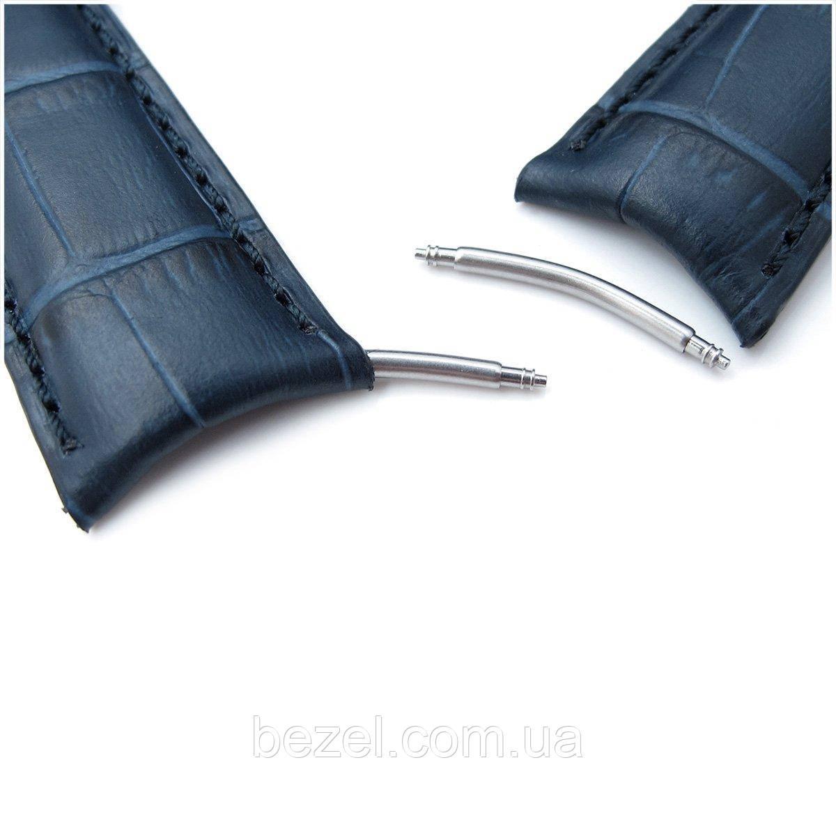 20mm or 22mm CrocoCalf (Croco Grain) Dark Blue Semi-Curved Watch strap, Blue Stitching, P