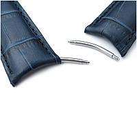 20mm or 22mm CrocoCalf (Croco Grain) Dark Blue Semi-Curved Watch strap, Blue Stitching, P, фото 1