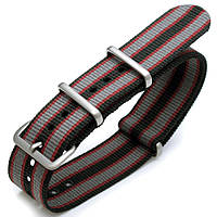 20mm or 22mm G10 Nato James Bond Heavy Nylon Strap Brushed Buckle - J12 Black, Red and Grey