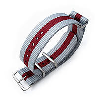 MiLTAT 20mm or 22mm G10 NATO Military Watch Strap Ballistic Nylon Armband, Brushed - Grey & Burgundy Red, фото 1