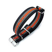 MiLTAT 20mm G10 NATO Bullet Tail Watch Strap, Ballistic Nylon, Brushed - Black, Grey & Orange Stripes