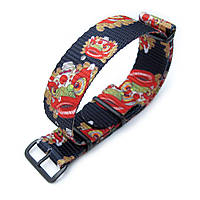 MiLTAT 20mm or 22mm G10 NATO Watch Strap, Ballistic Nylon Armband, Lion Dance Monogram, PVD Hardware, фото 1