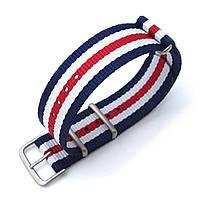MiLTAT 18mm or 22mm G10 military watch strap ballistic nylon armband, Sandblasted - Navy, White & Red, фото 1