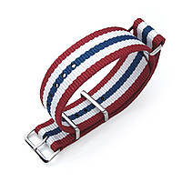 MiLTAT 20mm, 21mm or 22mm G10 NATO Military Watch Strap Ballistic Nylon Armband, Polished - Red, White & Blue