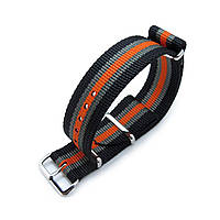 MiLTAT 21mm or 22mm G10 NATO Bullet Tail Watch Strap, Ballistic Nylon, Polished - Black, Grey & Orange Stripes