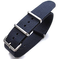 Nato 20mm, 21mm or 22mm Heat Sealed Heavy Nylon Watch Band Brushed Buckle - Navy Blue, фото 1