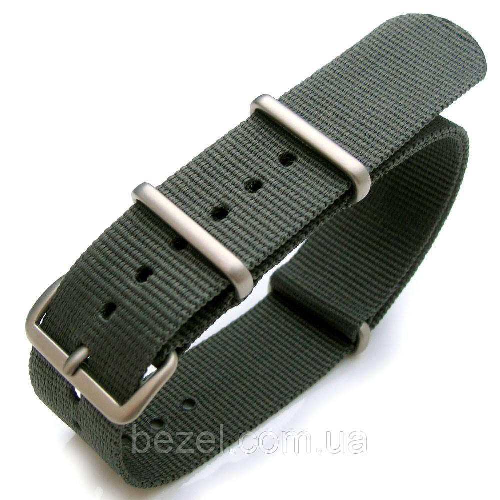 Nato 20mm or 22mm Heat Sealed Heavy Nylon Watch Band Brushed Buckle - Grey