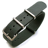 Nato 20mm or 22mm Heat Sealed Heavy Nylon Watch Band Brushed Buckle - Grey, фото 1