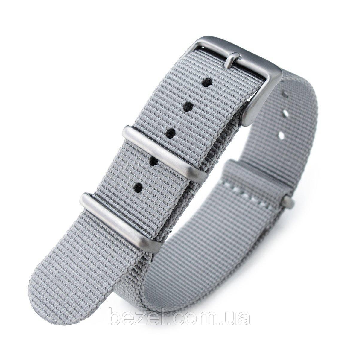 NATO 20mm G10 Military Watch Band Nylon Strap, Military Grey, Sandblasted, 260mm
