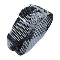 20, 22mm MiLTAT Perlon Watch Strap, Black & Light Grey, Sandblasted Ladder Lock Slider Buckle, фото 1