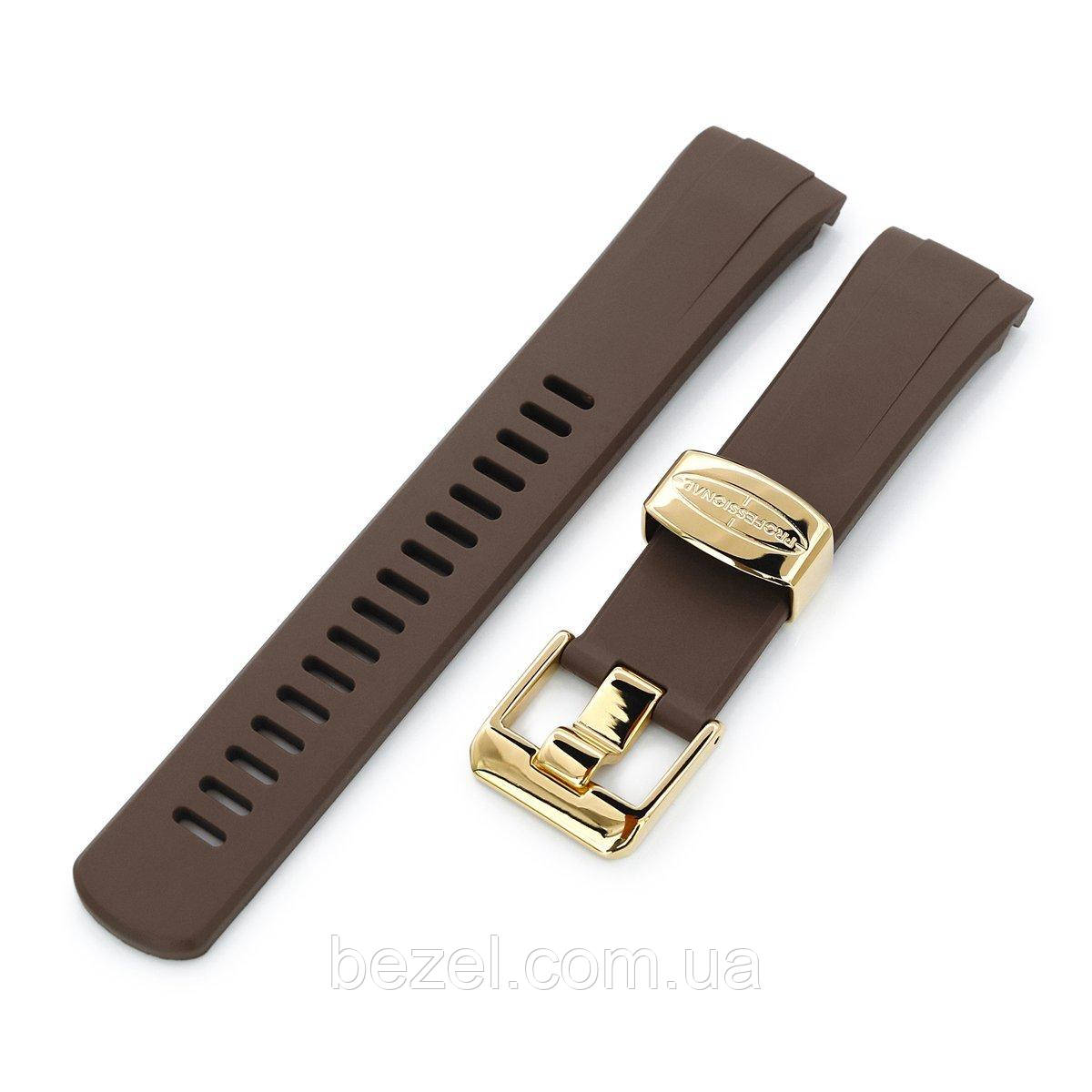 22mm Crafter Blue - Brown Rubber Curved Lug Watch Band for Seiko Gold Turtle SRPC44, IP Gold Buckle