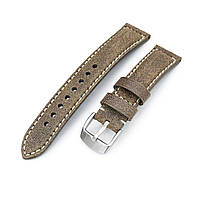 MiLTAT 20mm Genuine Olive Brown Distressed Leather Watch Strap Extra Soft, Beige Stitching, фото 1