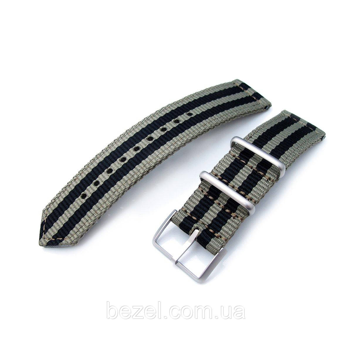 20mm, 22mm Two Piece WW2 G10 Nylon, Green & Black Stripes, Brushed Buckle