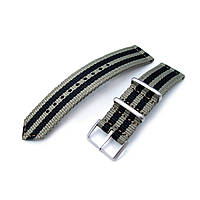 20mm, 22mm Two Piece WW2 G10 Nylon, Green & Black Stripes, Brushed Buckle, фото 1