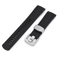22mm Crafter Blue - Black Rubber Curved Lug Watch Strap for Tudor Pelagos 25500TN, фото 1