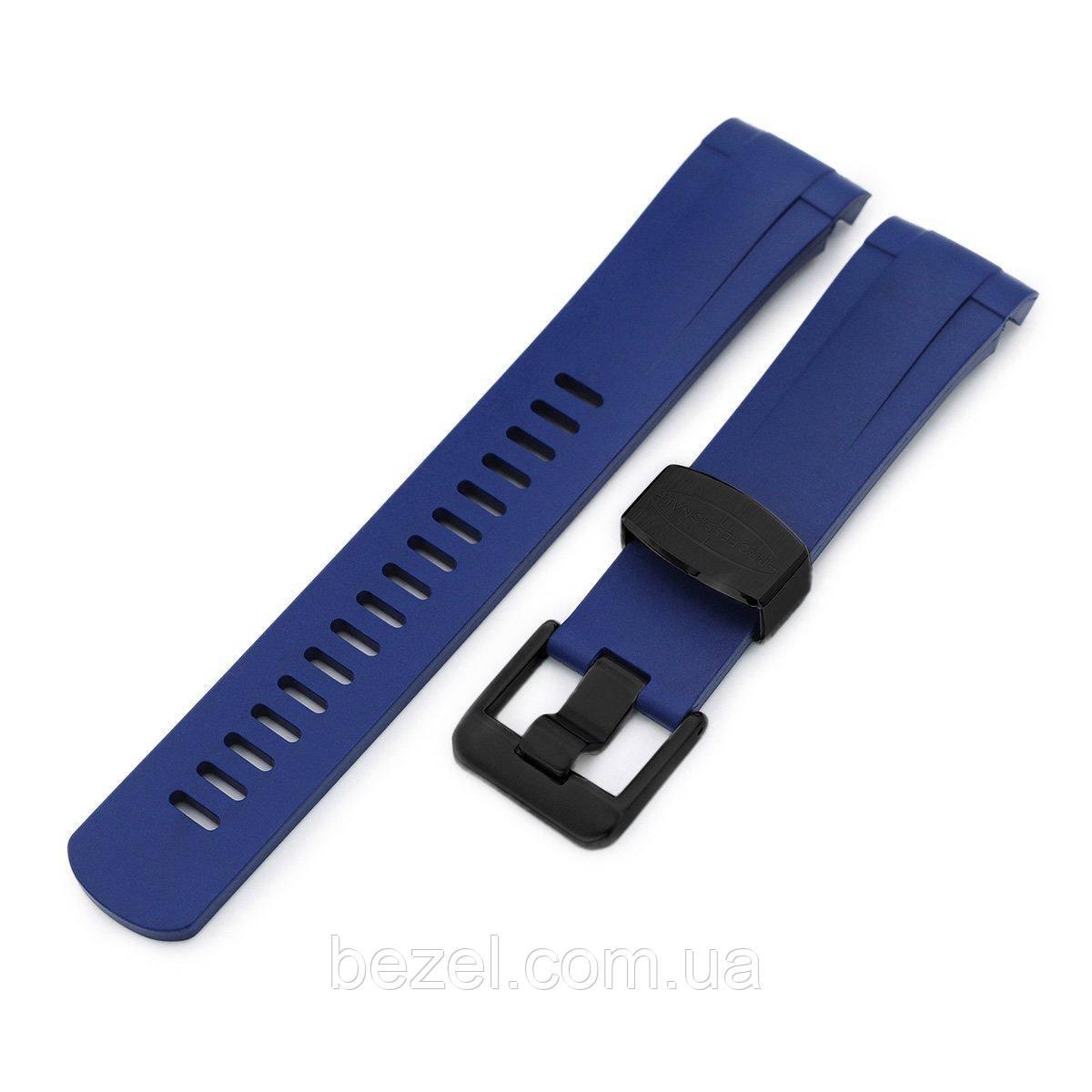 22mm Crafter Blue - Blue Rubber Curved Lug Watch Strap for Tudor Pelagos 25500TN, PVD Black Buckle