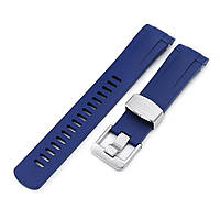 22mm Crafter Blue - Blue Rubber Curved Lug Watch Strap for Tudor Pelagos 25500TN, фото 1