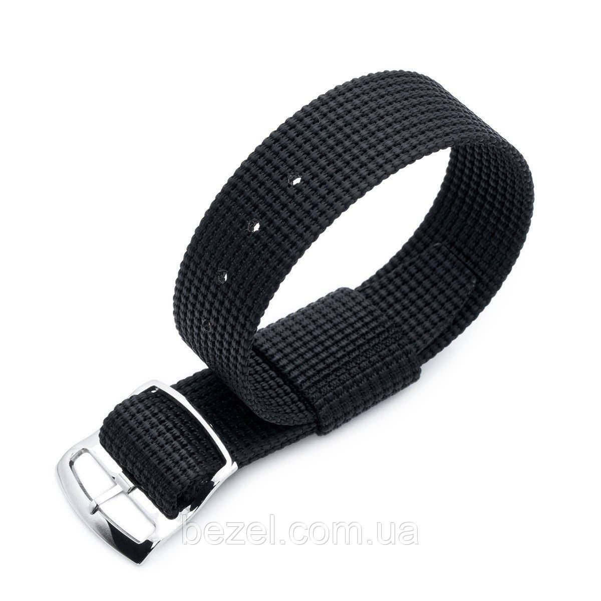 20mm or 22mm MiLTAT RAF N7 3-D Woven Nylon Nato Watch Strap, Matte Black, Polished Ladder Lock Slider Buckle